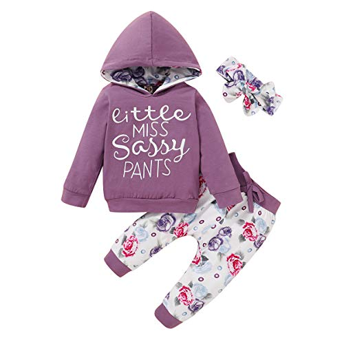 Toddler Baby Girls Clothes Letter Hoodie Sweatshirt+Floral Pants Winter Outfits Set Purple