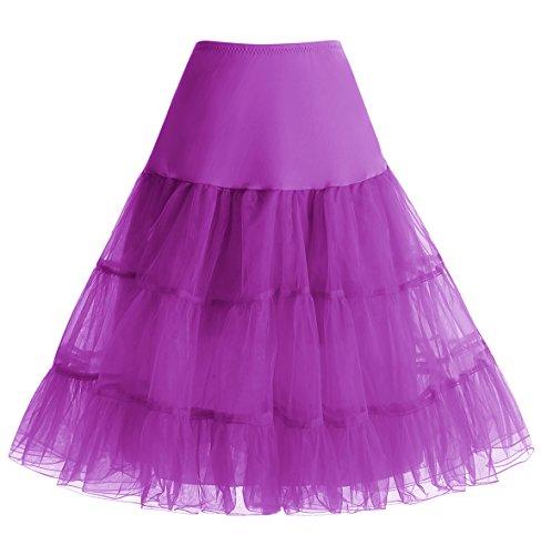 Homrain Mujeres 50s Vintage Tutu Cancan Enagua Rockabilly Mini Purple S