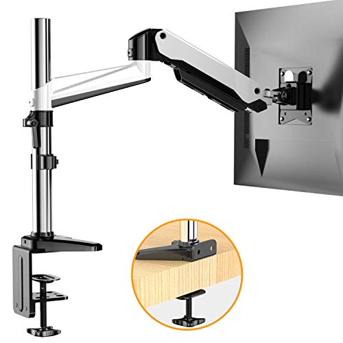 HUANUO Monitor Stand  Premium Gas Spring Single Arm Monitor Desk Mount Fits 17 to 32 Inch Computer Screens Height Adjustable Aluminum VESA Bracket with C Clamp and Grommet Kit