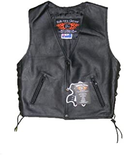 Bikers Gear Australia Kids Leather Motorcycle Vest Real Leather