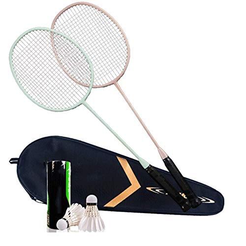 YANG WU Badminton-Set mit Aluminiumkopf und Stahlschaft - Inklusive Schläger, Federball und Tragetasche für Spiele im Freien für Kinder und Erwachsene