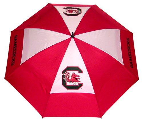 Team Golf NCAA South Carolina Gamecocks Parapluie de golf avec étui de protection, double auvent protection contre le vent, bouton d'ouverture automatique 157,5 cm