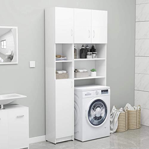 Tidyard Badezimmerschrank Hochschrank Badschrank Schrank 32 x 25,5 x 190 cm Mit 4 F?Chern mit Türen und 2 offenen F?Chern,Waschmaschine Schrank aus Spanplatte