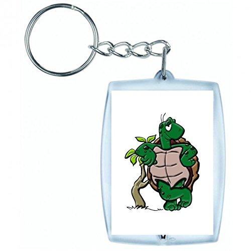 Druckerlebnis24 Schlüsselanhänger - Amphibien- Tier- Cartoon- Reptil- Schildkröte - Keyring - Taschenanhänger - Schlüsselring