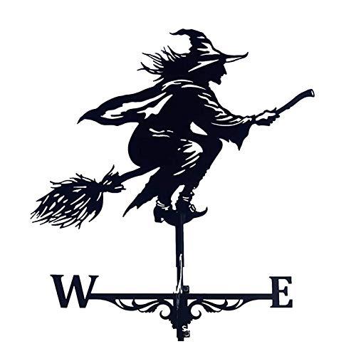 Feng Dong Fen Vane del Tiempo, Pintado Rooster Owl Witch Weather Vane View Speed Spinner Dirección Indicador para Adornos de jardín Decoración Patio Yard (Color : Witch)