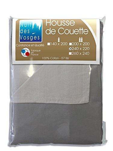 Nuit des Vosges Cotoval Housse de Couette Coton Bicolore Réversible 220x240 cm Coton Gris Souris/ Anthracite 240 x 220 cm