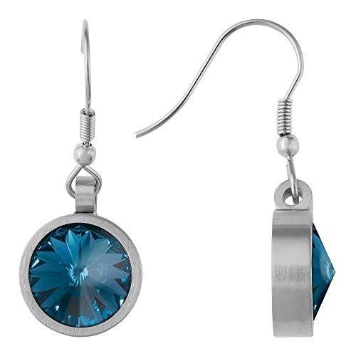 Heideman pendientes mujer de acero inoxidable color plata 925 mate Pendientes largos con piedra azul oscuro