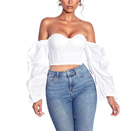 BRIEF 2021 Women's Wrapped Shirt Off Shoulder Tops Long Puff Sleeve No-Shoulder-Strap Tight Slimming Cropped Tops