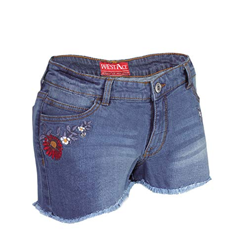 AFS Ladies Stretchy Denim Shorts Distressed Jeans Boyfriend Skinny Hotpants...