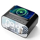 Lotuze Bedside Digital Alarm Clock with Wireless Charging and USB Charger, Bluetooth Speaker, FM Radio for Bedroom/Office, Large Led Display with 3 Levels of Brightness