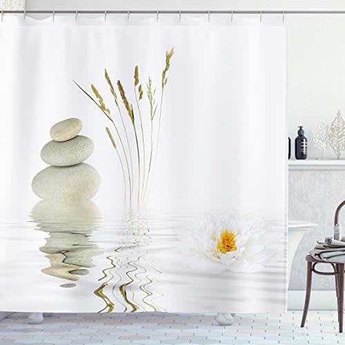 Ambsunny Zen Stone - Cortina de ducha con diseño de loto con reflejo en agua para meditación, incluye 12 ganchos, 60 x 71 pulgadas,...
