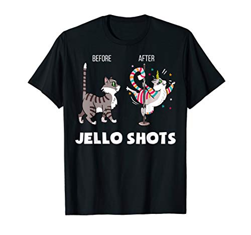 Funny Cat Unicorn Before After Jello Shots T-Shirt