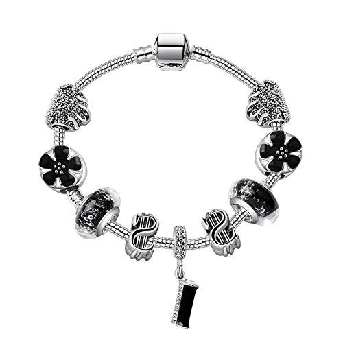 Pulsera ATE  con cuentas de esmalte negro y diseño de corazones, regalo ideal para mujeres, #JW-B23