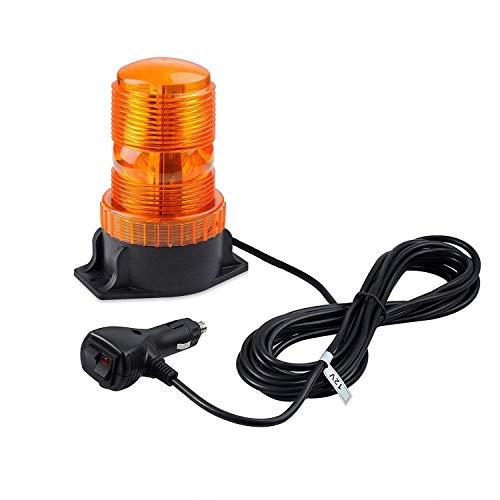EyPiNS Luces de Advertencia, 30 LED Luz Magnéticas de Emergencia Luz Intermitente de Recuperación, Luz Estroboscópica Baliza para 30W Camión, Coche, 12V/24V, Enchufe de Cigarrillo (Ámbar)