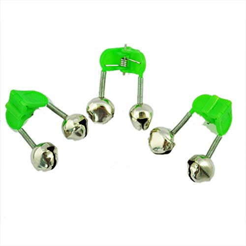 Ogquaton 3 Stücke Bissanzeiger Angelrute Pole Twin Ring Glocken w Clip Grün Hohe Qualität