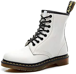 Dr. Martin unisex boots British wind couple leather booties Leather motorcycle boots Unisex Adults' Boots Oxford Boots Soles Comfortable Non-slip Wear-resistant (Color : White, Size : 39)