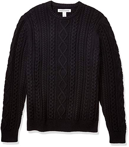 Amazon Essentials Men's Midweight Fisherman Sweater, Black, Small