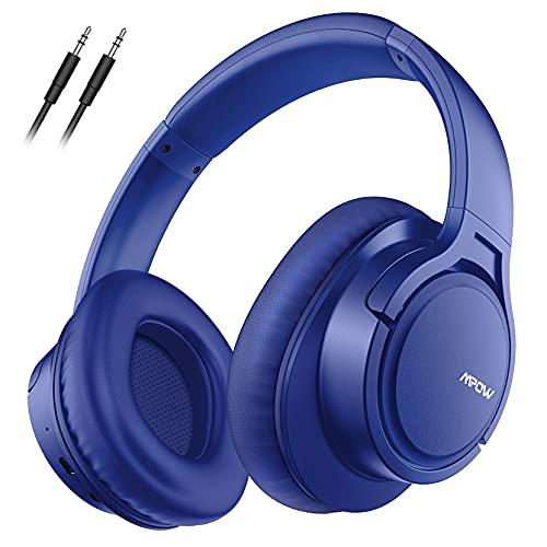 Mpow H7 Cascos Bluetooth 5.0 Diadema, 25hrs de Reproducir, Hi-Fi Sonido, Cascos Bluetooth Inalámbricos con Micrófono Incorporado, Auriculares Bluetooth Diadema para TV, Móvil, PC-Azul