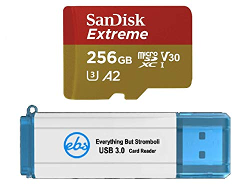 SanDisk 256GB Micro SDXC Memory Card Extreme Works with GoPro Hero 7 Black, Silver, Hero7 White UHS-1 U3 A2 Bundle with (1) Everything But Stromboli 3.0 Micro/SD Card Reader