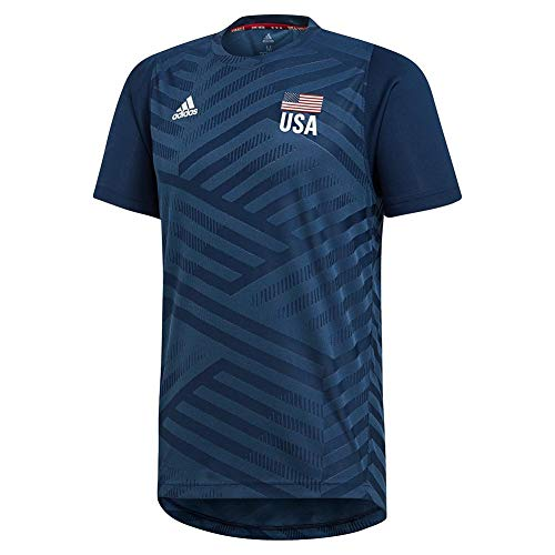 adidas USA Volleyball Replica tee Camisa, Azul Mineral/Azul Marino Collegiate/Blanco/Rojo Power, S para Hombre