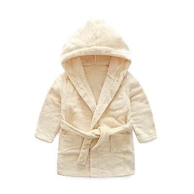 Children Infant Girls Boys Plush Flannel Pure Pajamas Baby Bathrobe with Hooded Sleepwear