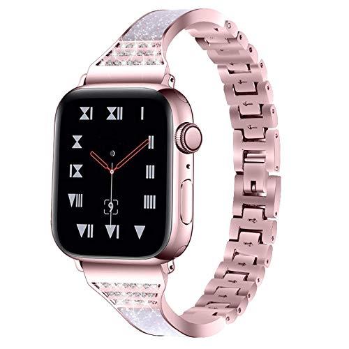 Bandas de reloj compatibles con Apple Watch 38 mm 40 mm 42 mm 44 mm Serie SE 6 5 4 3 2 1 Joyería para mujer Correa de pulsera de metal con pulsera de repuesto de diamantes brillantes