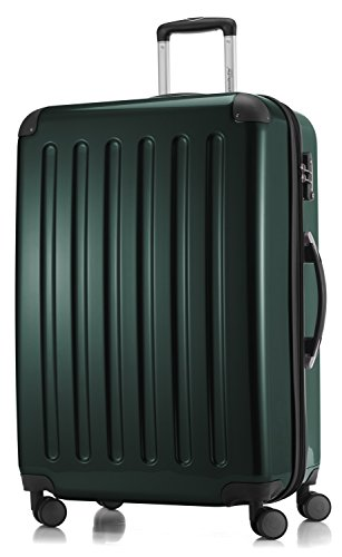 HAUPTSTADTKOFFER - Alex - 4 Doppel-Rollen Großer Hartschalen-Koffer Koffer Trolley Rollkoffer Reisekoffer, TSA, 75 cm, 119 Liter, Waldgrün