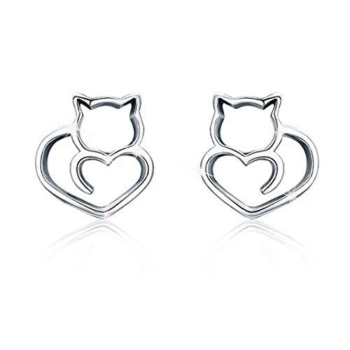 Orecchini a perno a forma di gatto, per donne e ragazze, regalo di compleanno per lei, in argento Sterling 925 e Argento, cod. FAE271+gift