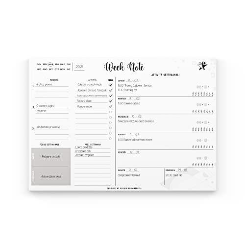 Planner Settimanale Scrivania Week Note programmare e gestire i tuoi impegni, Agenda Appuntamenti - A3 (29,7 cm X 42 cm) con 52 Fogli a strappo