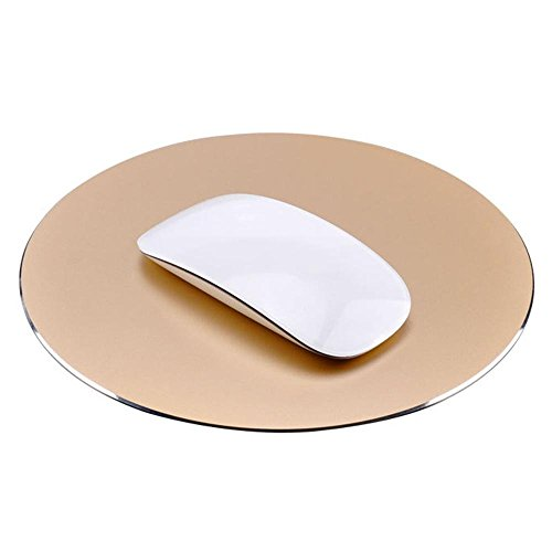 Utoptech Metal Round Gaming Mouse Pad, Alloy Rubber Non-Slip Surface Gaming Mouse Pad Aluminum Surface for Fast and Accurate Control for Apple MacBook and Computer(Gold, Round)