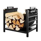 Holzlager Metall-Brennholzregal Mit Segeltuch-Rückentasche, Camping-Innen- Und Außenkamin Und Kohlenbecken-Holzhalter, Stabil Gestapelte Lagerung, 45x31x40cm