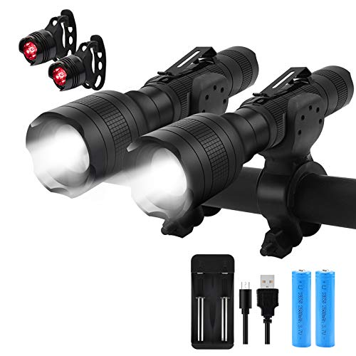 Rechargeable Bicycle Light Bike Light with Free Tail Lights Bright 700 Lumens Bike Headlight for Mountain Street Bikes Front and Back 5 Modes LED Handheld Flashlight Battery and Charger Included