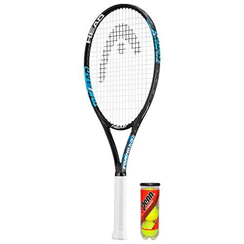 HEAD Ti.Tornado - Raqueta de tenis de titanio (incluye funda protectora y 3 pelotas de tenis (disponible en tamaños de agarre 1 a 4) (L2 (4 1/4 pulgadas)