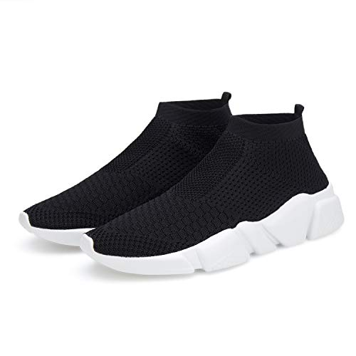 N / A Mens Sock Shoes Light and Breathable Sports Fashion Sneakers Walking Tennis Shoes Black 044-42 Size 9.5