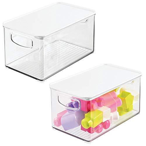 mDesign Juego de 2 organizadores de juguetes # Juguetero grande con tapa de plástico robusto # Caja organizadora apilable para guardar juguetes y manualidades # transparente y blanco