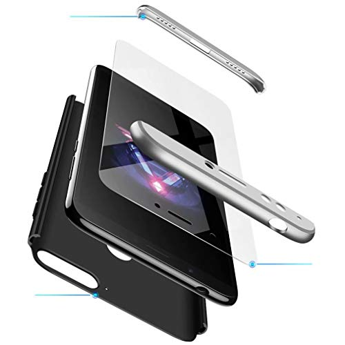 FHXD Kompatibel mit Huawei Honor 7A/Y6 2018 Hülle Stoßfest 360° Schutzhülle Schutz Case Cover Ultra Dünn Anti-Kratzen 3 in 1 Handyhülle MEHRWEG-Silber Schwarz