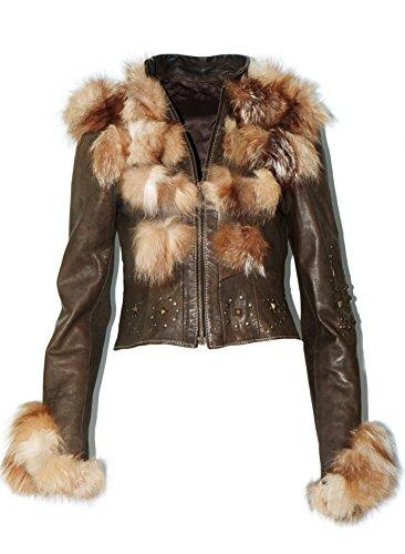 DX dames lederen jas, kort lederen jas parka met echt Raccoon Pelz, bontjas KKLK-0002