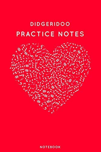 Didgeridoo Practice Notes Red Heart Shaped Musical Notes Dancing Notebook for Serious Dance product image