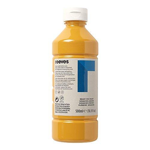 Reeves 4551744 Ready Mix Flasche, 500ml, flüssige Tempera der Spitzenklasse, intensive Farbe - gelber ocker