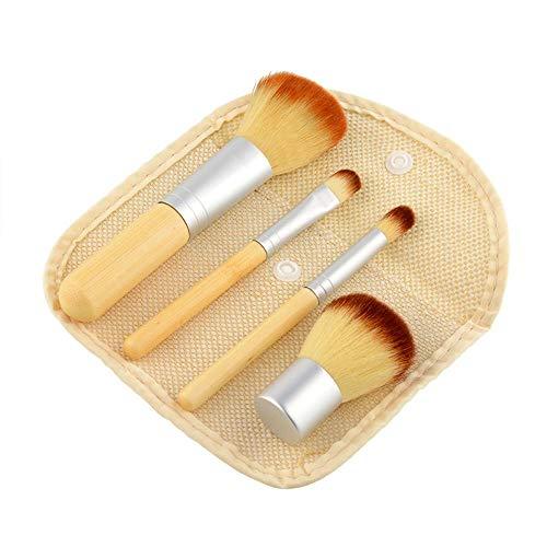 Lot de 4 pinceaux de maquillage en bambou avec sac