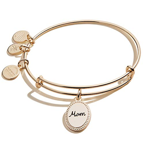 Alex and Ani Because I Love You Mom Expandable Wire Bangle Bracelet for Women, Bonded by Love Charm, Shiny Antique Gold Finish, 2 to 3.5 inches
