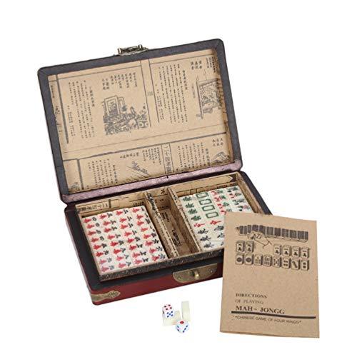 NUOBESTY chinesisches Mahjong spielset traditionelles Mahjong mit antikem Koffer und englischem Handbuch für partyspielzeug Favor 1 Set
