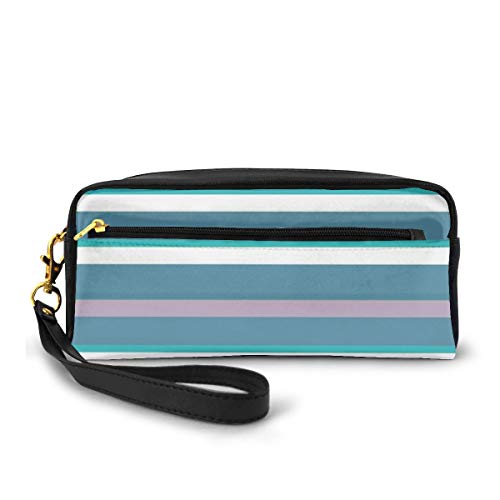Pencil Case Pen Bag Pouch Stationary,Turquoise Dark Teal Stripes Thick and Thin Lines with Aqua Colors Pattern Art Print,Small Makeup Bag Coin Purse