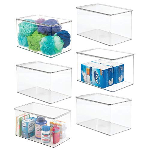 mDesign Stackable Bathroom Storage Box with Lid - Container for Organizing Hand Soaps Body Wash Shampoos Conditioners Hand Towels Hair Accessories Body Spray - 6 Pack - Clear
