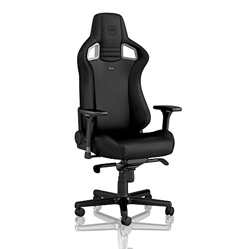 noblechairs Epic Gaming Chair - Office Chair - Desk Chair - PU Faux Leather - 265 lbs - 135° Reclinable - Lumbar Support Cushion - Black Edition black chair gaming