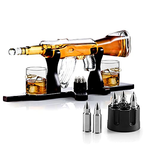 Whiskey Decanter Set + 2 Whisky Glasses on Rich Wood Classic Mahogany Base Tray with Chilling Stones Gift Packaging - Whiskey Dispenser for Liquor Scotch Bourbon - Christmas Holiday Gift