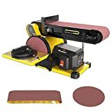 Woodskil 4.3A 3/4HP Belt Sander 4 x 36 in. Belt & 6 in. Disc Sander with 2Pcs Sandpapers Steel Base & Aluminum Work Table, Induction Motor Provides Up to 3600 RPM, Double Dust Exhaust Port Included