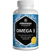 Vitamaze Omega 3 1000 mg per 1 Capsula Alto Dosaggio, Puro Olio di Pesce con 400 mg (40%) EPA e 300 mg (30%) DHA per Capsule per 3 Mesi, FOS Certificato, Alta Biodisponibilità, Qualità Tedesca