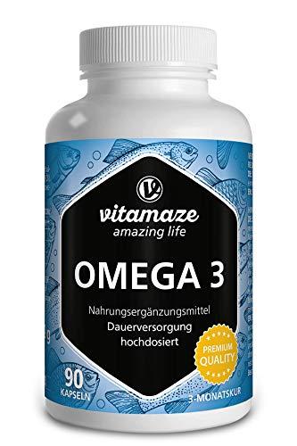 Omega 3 Kapseln hochdosiert, 1 Kapsel pro Tag, 1000 mg reines Fischöl mit 400 mg (40%) EPA & 300 mg (30%) DHA für 3 Monate, nachhaltiger Fischfang, höchste Bioverfügbarkeit, Made in Germany