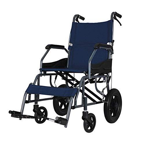 DLY Ancianos Discapacitados Silla de Ruedas Manual, Silla de Ruedas Plegable Portátil Y Ultraligera, Adecuado para: Ancianos, Discapacitados, Paño Oxford + Azul